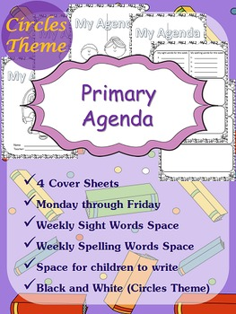Primary Agenda / Planner {Circles Theme} with spelling/sig
