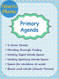 Primary Agenda / Planner {Hearts Theme} with spelling/sight words space