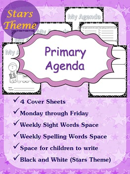 Primary Agenda / Planner {Stars Theme} with spelling/sight