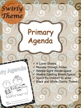 Primary Agenda / Planner {Swirly Theme} with spelling/sight words space
