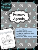 """Primary Agenda / Planner {Swirly Theme} with blank """"notes"""" space"""