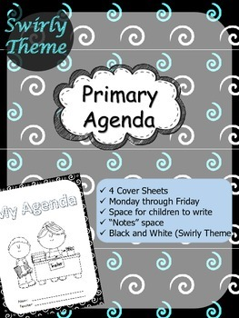 "Primary Agenda / Planner {Swirly Theme} with blank ""notes"" space"