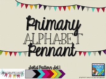 Primary Alphabet Pennant Solids Set 1