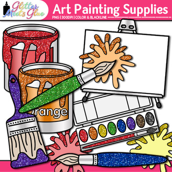 Art Painting Supplies Clip Art {Color Theory, Paint Cans, Tubes, Splashes, Blob}