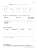Primary Behavior / Reading Log