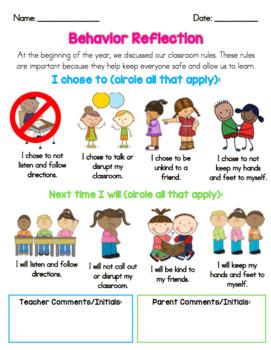 Primary Behavior Reflection Form