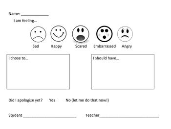Primary Behavior Reflection Sheet