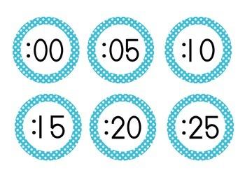 Primary Blue Polka Dot Clock Numbers