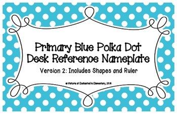 Primary Blue Polka Dot Desk Reference Nameplates Version 2