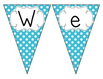 Primary Blue Polka Dot Welcome Pennant