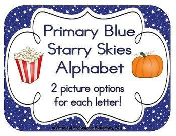 Primary Blue Starry Skies Alphabet Cards