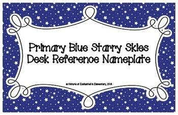 Primary Blue Starry Skies Desk Reference Nameplates