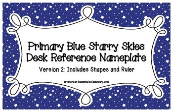 Primary Blue Starry Skies Desk Reference Nameplates Version 2