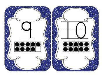 Primary Blue Starry Skies Number Cards 1-20
