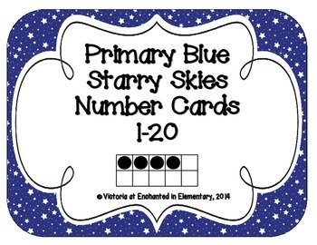 Primary Blue Starry Skies Number Cards 1-20