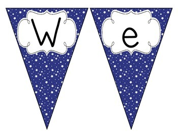 Primary Blue Starry Skies Welcome Pennant