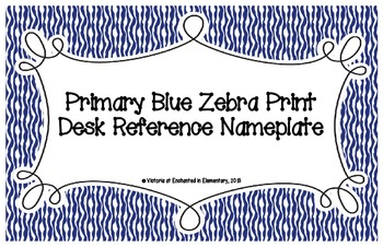 Primary Blue Zebra Print Desk Reference Nameplates