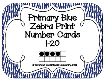 Primary Blue Zebra Print Number Cards 1-20
