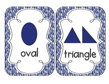 Primary Blue Zebra Print Shape Cards