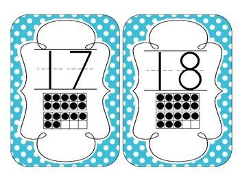 Primary Blue Polka Dot Number Cards 1-20