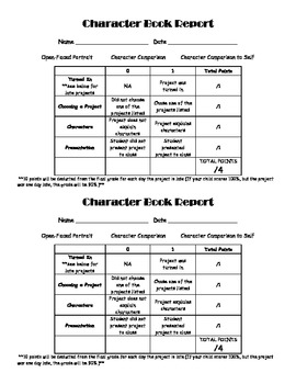 Primary Book Reports Setting and Character