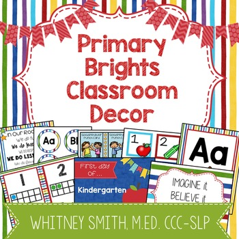 Primary Brights Classroom Decor Editable Powerpoint Mega Bundle