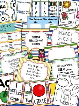 Primary Brights Classroom Decor Editable Powerpoint Mega Bundle