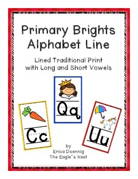 Primary Brights Rectangular Alphabet Line--Traditional Handwriting