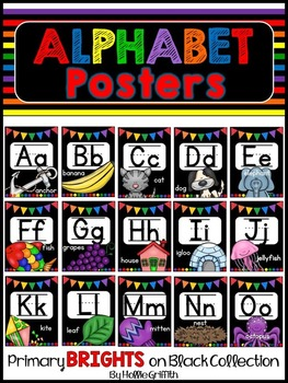 Primary Brights on Black Alphabet Posters
