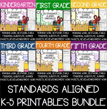 600 K-5 Language, Reading, Writing, and Math Anytime Printables Bundle