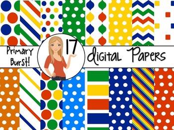 Primary Burst ~ 17 Digital Background Papers {8.5 x 11} Clip Art CU OK