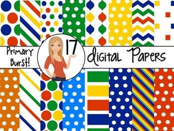 Primary Burst ~ 17 Digital Background Papers {8.5 x 11} Cl