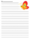 Primary Butterfly Lined Paper
