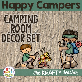 Primary Camping Room Theme Decor - Back to School with Editable pages