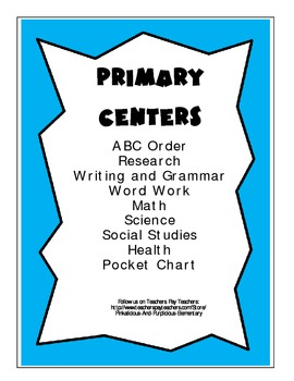 Primary Centers Bundle ELA Math Science Social Studies Health Pocket Chart