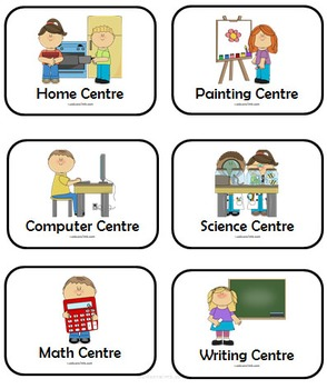 Learning Centres - Icon Cards and Matching Centre Signs & Templates