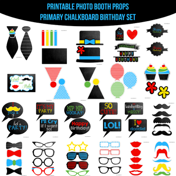 Primary Chalkboard Birthday Printable Photo Booth Prop Set By