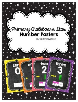 Primary Chalkboard Stars Number Posters