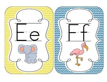 Primary Chevron Alphabet Cards