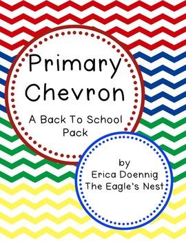 Primary Chevron Back to School Pack--Editable