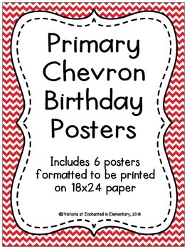 Primary Chevron Birthday Posters
