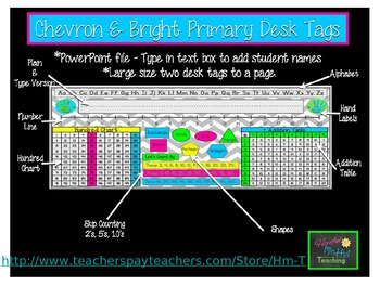 Primary Chevron & Bright Desk Tags