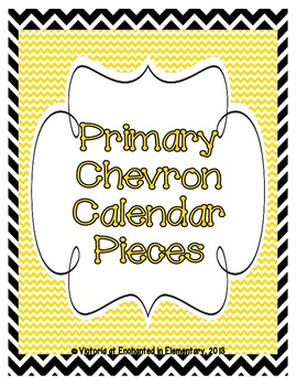 Primary Chevron Calendar Numbers, Months and Days