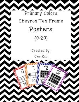 Primary Chevron Ten Frame Posters