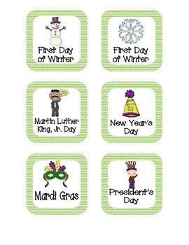 Primary Chevron Holiday Calendar Pieces