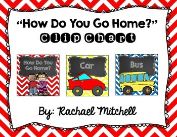"""Primary Chevron and Chalkboard """"How Do You Go Home?"""" Clip Chart"""