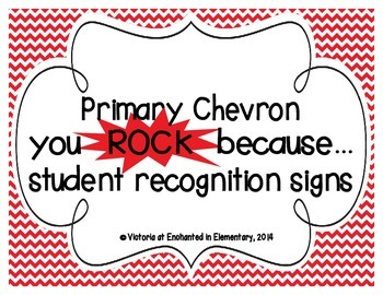"Primary Chevron ""you ROCK because..."" Student Recognition Signs"