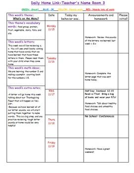 Primary Classroom Home Link (Behavior, Announcements, Homework)