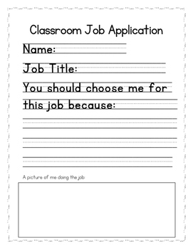 Primary Classroom Job Application