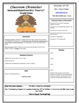 Primary Classroom Newsletter Template and Sample- Easy to use & edit